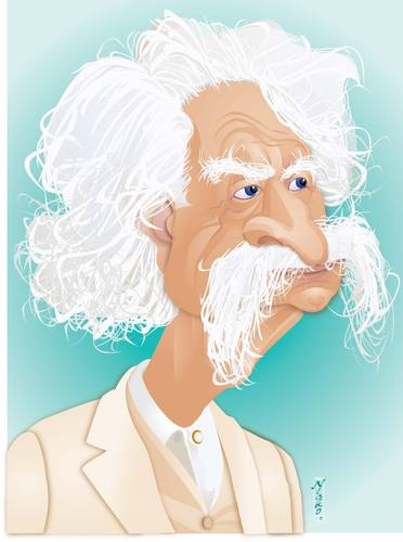 Cartoon: Mark Twain (medium) by buzz tagged huckleberry