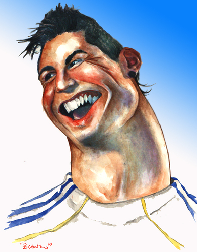 Cartoon: CRISTIANO RONALDO (medium) by lagrancosaverde tagged cristiano,ronaldo,real,madrid,alfonso,blanco