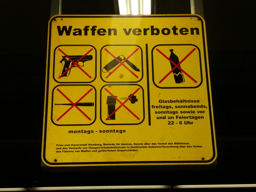 Cartoon: No weapons (medium) by 6aus49 tagged weapons,hamburg,train,station