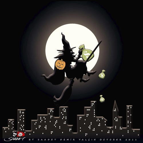 Cartoon: Happy Halloween! (medium) by saadet demir yalcin tagged saadet,sdy,halloween