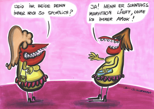 Cartoon: Sportive (medium) by LA RAZZIA tagged sport,frau,marathon,joggen,triathlon