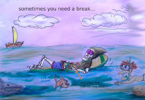 Cartoon: dead holidays (medium) by wheelman tagged sea,swim,holidays,sun,enjoy,death