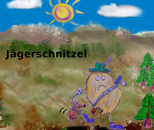 Cartoon: mahlzeit (medium) by wheelman tagged essen,fleisch,jäger,hund,natur