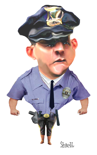 Cartoon: COP (medium) by mikess tagged police,officer,cop,law,enforcement,arrest,badge,gun