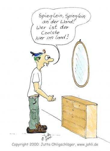 Cartoon: Cool (medium) by Johli tagged cool,mann,märchen,spiegel,haar
