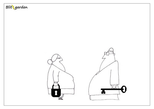 Cartoon: Passt! (medium) by Oliver Kock tagged mann,frau,liebe,paar,beziehung,verlieben,nick,blitzgarden,cartoon