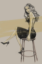Cartoon: waiting (small) by michaelscholl tagged sexy,woman,stool