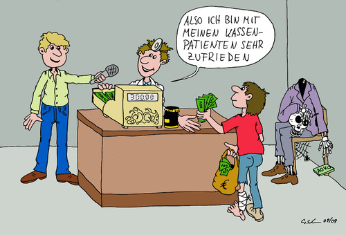 Cartoon: Kassenpatient (medium) by Wolfgang tagged aok,krankenkasse,arzt,euro