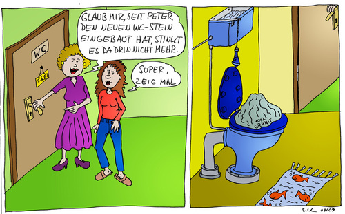 Cartoon: WC-Stein (medium) by Wolfgang tagged toilette,wc,wcstein,bad