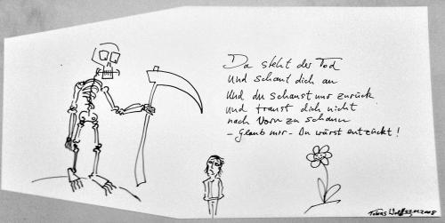 Cartoon: Der Tod und Die Blume (medium) by Tobias Wolff tagged sensenmann,blume,lyrik