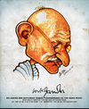 Cartoon: Gandhi (small) by bharatkv tagged gandhi mahatma indian bapu mkg caricature bharat leader freedom