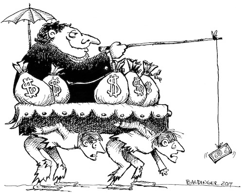 Cartoon: Rich And Poor bw (medium) by dbaldinger tagged wealth,slavery,money,servitude,rich,poor,wealth,slavery,money,servitude,rich,poor