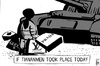 Cartoon: Tiananmen protest (small) by sinann tagged tiananmen,protester,shopper,branded,goods