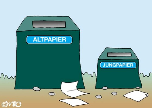 Cartoon: Altpapier (medium) by MiO tagged altpapier,mio,jung,papier,recycling