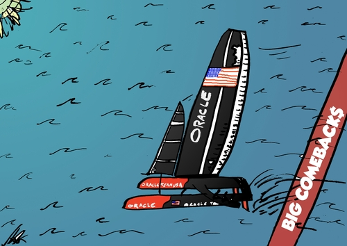 Cartoon: Oracle Team USA wins big (medium) by BinaryOptions tagged oracle,team,usa,america,cup,sailing,catamaran,ac72,sports,investing,trade,binary,option,options,trader,invest,financial,money,optionsclick,editorial,cartoon,caricature,political,business,news
