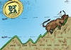 Cartoon: Record High DJIA Bull Run (small) by BinaryOptions tagged binary,option,options,trade,trader,trading,bull,run,market,djia,dow,jones,industrial,average,financial,economic,investor,caricature,editorial,business,cartoon,webcomic,optionsclick