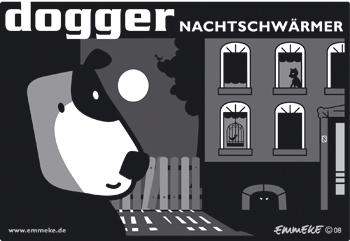 Cartoon: dogger (medium) by EMMEKE tagged animals,dogger,character,comic,tiere,dog,moon,night,bleu,nighthawk,hund,owl,mond,vollmond,nachtschwaermer,bw,verliebt,in,love