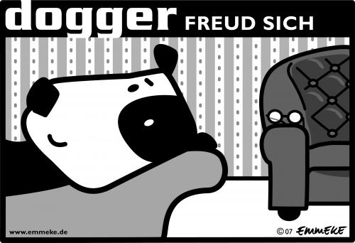 Cartoon: dogger (medium) by EMMEKE tagged animals,character,dogger,comic,tiere,freud,dog,psych,shrink,glasses,hund,seelenklemptner,brille,couch,tapete,bw,help,hilfe