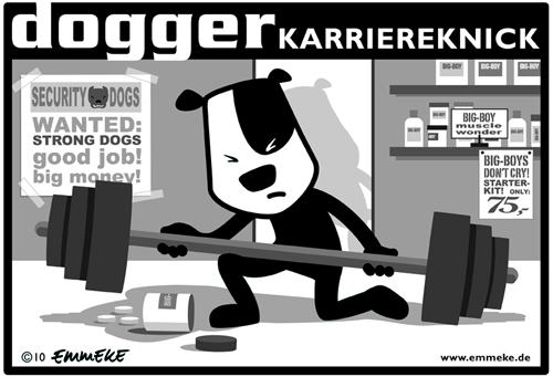 Cartoon: karriereknick (medium) by EMMEKE tagged dog,dogger,hund,karriere,knick,security,fitness
