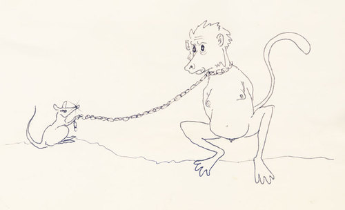 Cartoon: Mouse and Monkey (medium) by vokoban tagged pen,and,ink,doodle,drawing,scribble,pencil