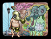Cartoon: Painter II (small) by gamez tagged gmz kaicartoonebi wall art graffity love gas gaz virus circus sky liners lines line