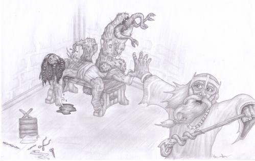Cartoon: Mutation (medium) by real tagged zwerg,heiler,mutation,mutant,monster,attack,panik,angst,