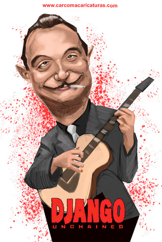 Cartoon: Django Reinhardt Unchained (medium) by carcoma tagged django,reinhrdt,unchained,movie,western,tarantino,film,desencadenado,caricatura,cine