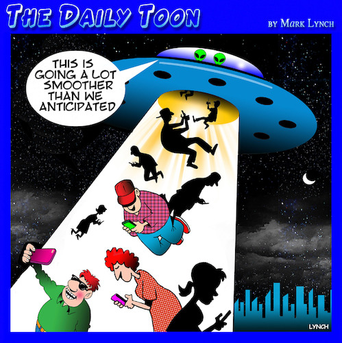 Cartoon: Alien abduction (medium) by toons tagged phone,addiction,alien,abduction,staring,at,phones,smart,iphones,phone,addiction,alien,abduction,staring,at,phones,smart,iphones
