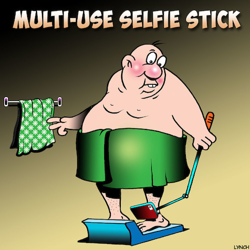 Cartoon: Bathroom scales (medium) by toons tagged selfie,stick,bathroom,scales,overweight,obese,fat,big,tummy,selfie,stick,bathroom,scales,overweight,obese,fat,big,tummy
