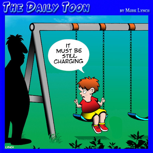 Cartoon: Battery charging (medium) by toons tagged playground,swings,battery,charger,children,playing,playground,swings,battery,charger,children,playing