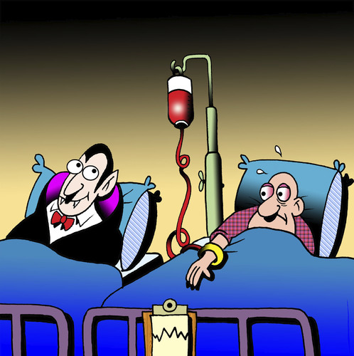 Cartoon: Bloody hungry (medium) by toons tagged vampires,hospitals,blood,transfusion,doctors,surgeon,hospital,bed,hungry,types,medical,vampires,hospitals,blood,transfusion,doctors,surgeon,hospital,bed,hungry,types,medical