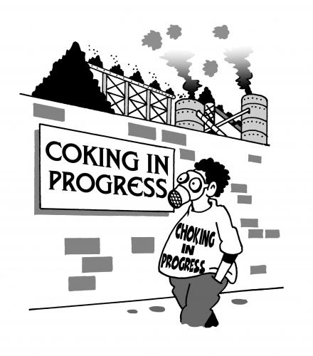 Cartoon: coking in progress (medium) by toons tagged coal,coking,environment,ecology,greenhouse,gases,pollution,earth,day