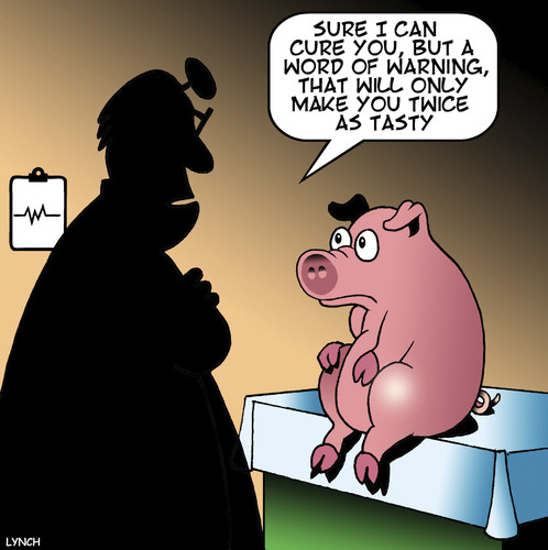 Cartoon: Cured ham (medium) by toons tagged pigs,ham,cured,meats,tasty,food,medical,diagnosis,animals,farm,pigs,ham,cured,meats,tasty,food,medical,diagnosis,animals,farm