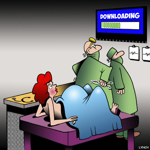 Cartoon: Downloading (medium) by toons tagged midwife,babies,birth,surgery,downloads,pregnant,pregnant,downloads,surgery,birth,babies,midwife
