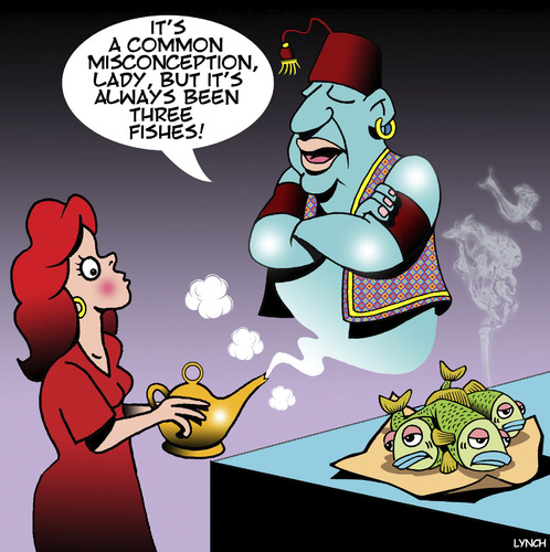 Cartoon: Genie in a bottle (medium) by toons tagged magic,lamp,genie,misunderstandings,myths,three,wishes,fish,misconceptions,magic,lamp,genie,misunderstandings,myths,three,wishes,fish,misconceptions