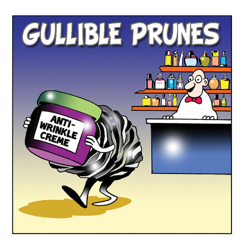 Cartoon: Gullible prunes (medium) by toons tagged pharmacy,anti,wrinkle,creme,prunes,perfumes,chemist,drug,store,ageing,moisturiser,stretch,marks,wrinkles