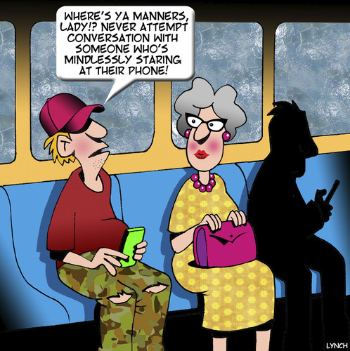 Cartoon: Manners (medium) by toons tagged etiquette,manners,smartphone,public,transport,old,vs,young,staring,at,phone,etiquette,manners,smartphone,public,transport,old,vs,young,staring,at,phone