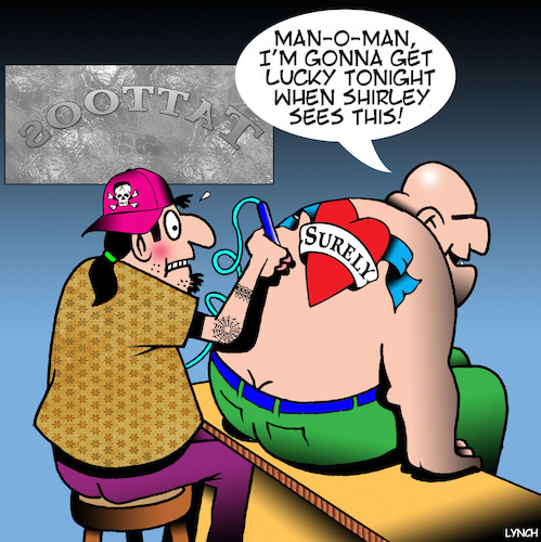 Cartoon: Misspelt tattoo (medium) by toons tagged tatto,parlour,misspelt,tattoo,surely,shirley,tatto,parlour,misspelt,tattoo,surely,shirley