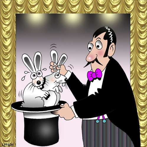 Cartoon: out of the hat (medium) by toons tagged tricks,magic,magician,rabbits,intercourse