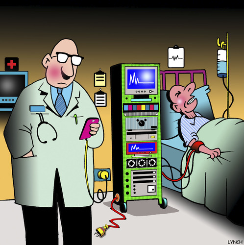 Cartoon: Phone charge cartoon (medium) by toons tagged phone,charger,medical,procedure,doctors,hospitals,patient,care,smart,hospital,negligence,old,age,phone,charger,medical,procedure,doctors,hospitals,patient,care,smart,hospital,negligence,old,age