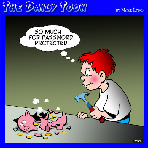 Cartoon: Piggy bank (medium) by toons tagged password,protection,online,passwords,usernames,piggy,bank,kids,saving,password,protection,online,passwords,usernames,piggy,bank,kids,saving