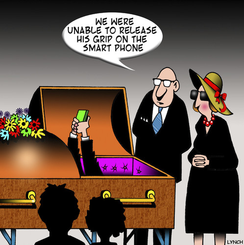Cartoon: Smart phone (medium) by toons tagged funeral,smart,phone,coffin,vice,grip,death,social,media,facebook,addiction,funeral,smart,phone,coffin,vice,grip,death,social,media,facebook,addiction