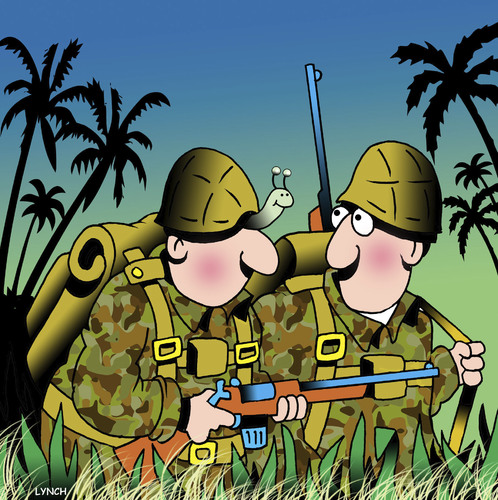 Cartoon: Soldier snail (medium) by toons tagged military,snails,slugs,soldier,war,fighting,jungle,fighter,military,snails,slugs,soldier,war,fighting,jungle,fighter