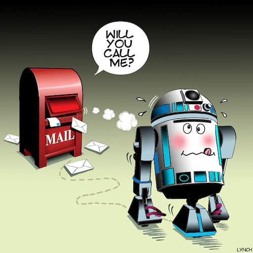 Cartoon: Star wars cartoon (medium) by toons tagged r2d2,star,wars,post,box,robots,artificial,intelligence,ai,mail,r2d2,star,wars,post,box,robots,artificial,intelligence,ai,mail