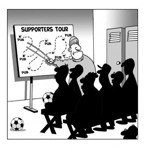 Cartoon: supporters tour (medium) by toons tagged football,soccer,supporters,pubs,beer