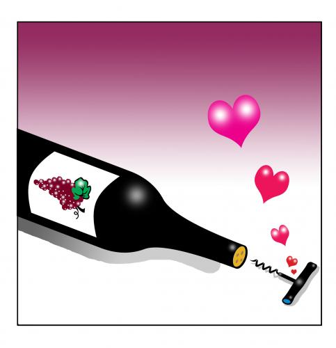 Cartoon: true love (medium) by toons tagged wine,cabernet,corkscrew,love,relationships,shiraz,alcohol,red,benefits,alcoholism,diving