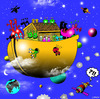 Cartoon: Alien ark (small) by toons tagged aliens,ark,noahs,space,the,universe,population,explosion,escape,bible,floods,ships,god,religion