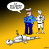Cartoon: an accident (small) by toons tagged crash,test,dummy,accident,crime,police,murder,robots,cars
