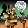 Cartoon: Angry Raccoon (small) by toons tagged davy,crockett,raccoon,coonskin,cap,wild,west,animal,tail,trophy