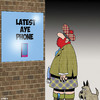 Cartoon: Aye phone (small) by toons tagged iphone,ipad,mobile,phone,scotland,kilts,bagpipes,sales,aye